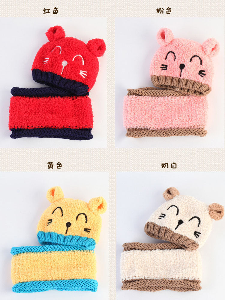 553f9415321 ... Korean Two ears little Bear kids boys Knitted hats winter 2 pcs fur baby  girl scarf ...