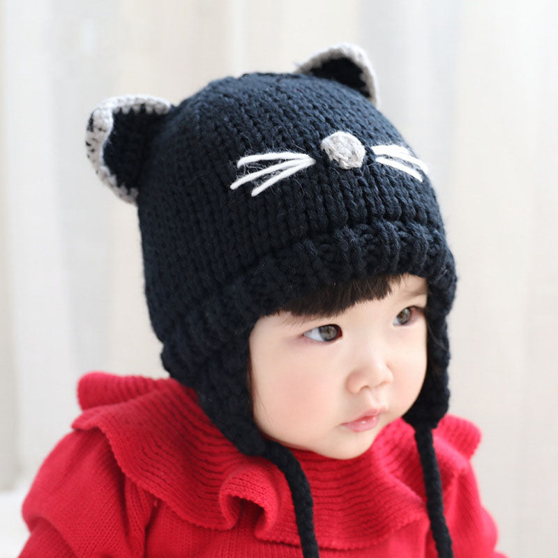 ... Cute Cat Warm Crochet Earflap Hat Kids Boys Girls Winter Wool Caps  Cartoon Knitted Skullies Beanies ... be1c37a979c
