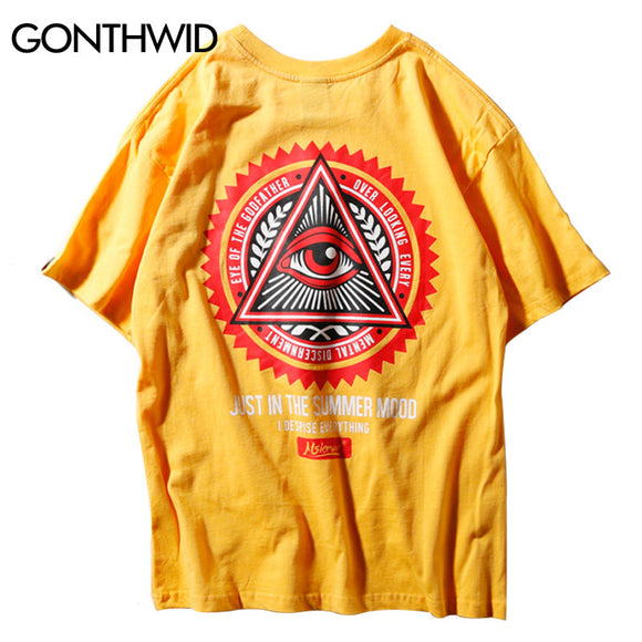 d9bd4fcd2102 GONTHWID Geometry Triangle T Shirts Men s Hip Hop Eye of Godfather Printed  Casual Cotton Streetwear Tops