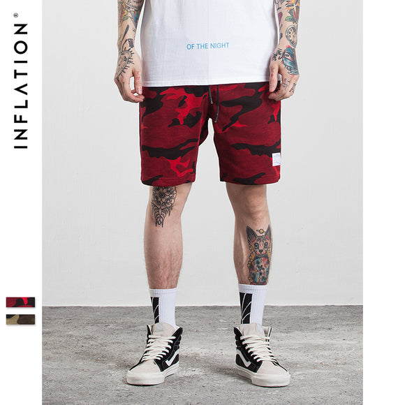 04bfe702b5e25 INFLATION 2017 Men's Hightstreet Casual Shorts Bamboo Cotton Men Summer  Shorts Red Camouflage Hip Hop Shorts