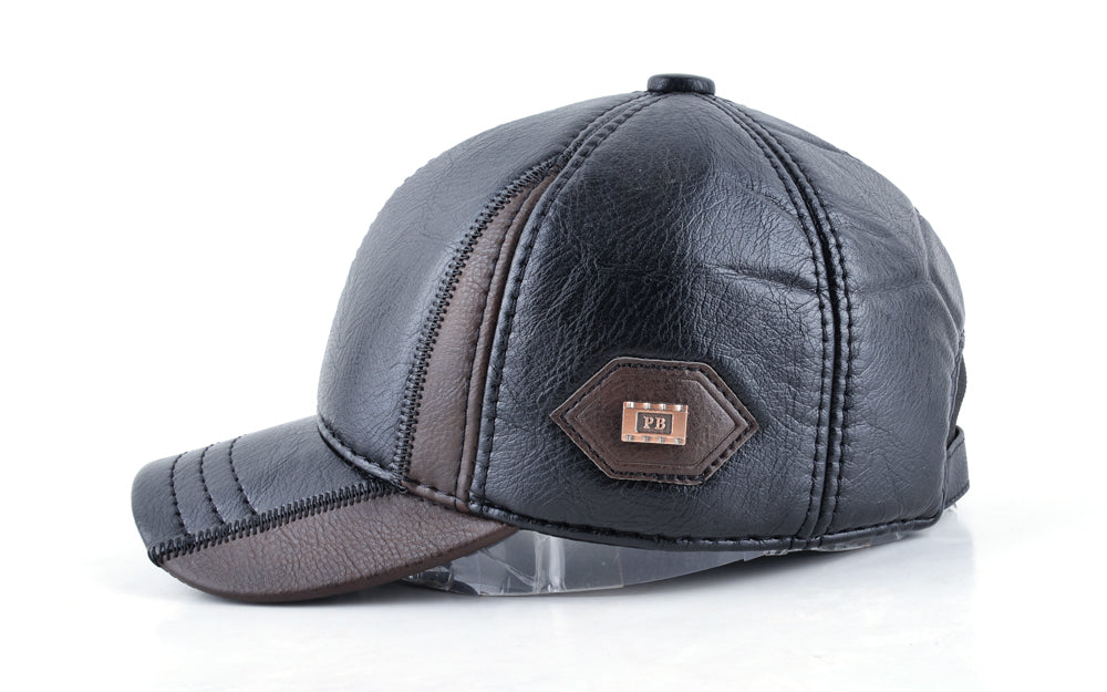 e69a46723c8344 ... Mens winter leather cap warm patchwork dad hat baseball caps with ear  flaps russia adjustable snapback ...