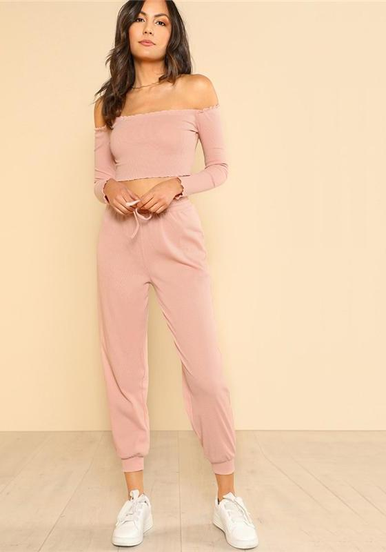 637fd1cf9c SHEIN Women 2 Piece Set Top and Pants Casual Woman Set Pink Off the Shoulder  Crop