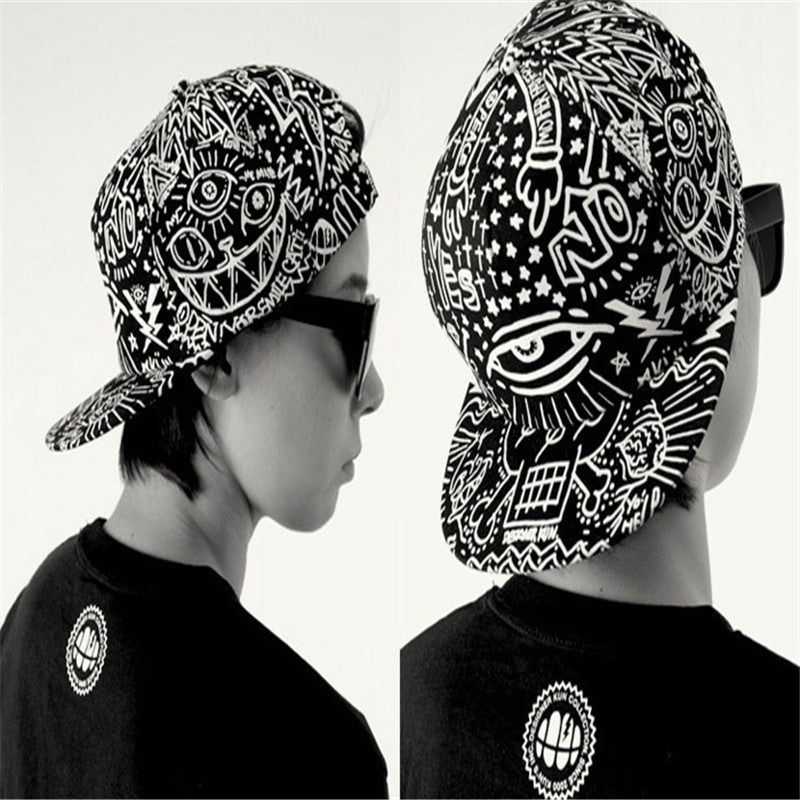 aa0633f717f746 ... Summer Boy Baseball caps Graffiti Eye men Solid Canvas hats Vintage Flat  men Hip Hop Hat ...