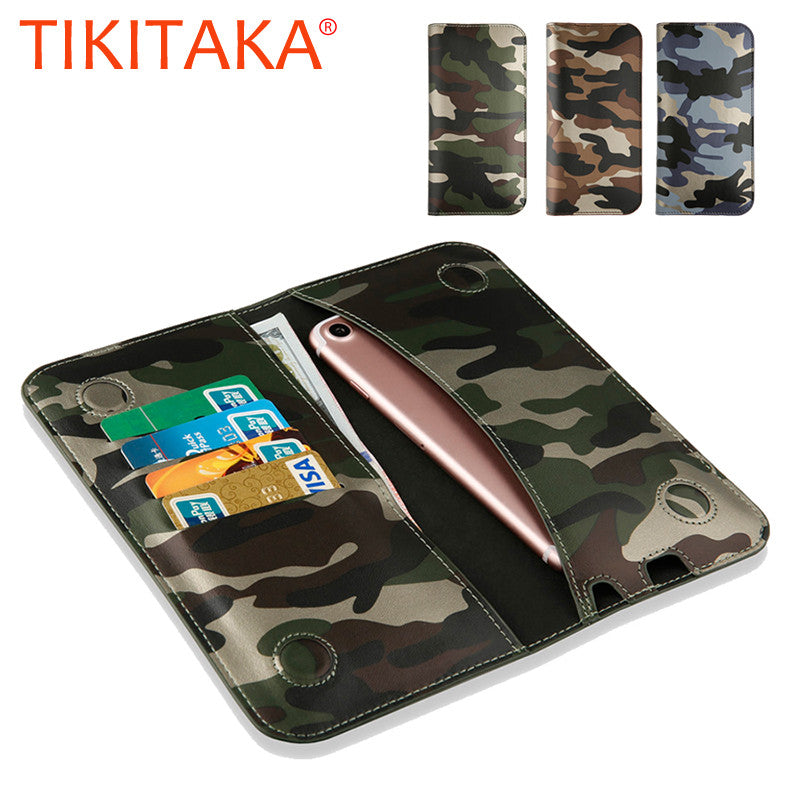 timeless design 4c1c2 e3901 Cool Camouflage Leather Flip For Iphone 7 6 6s Plus SE 5 5s Universal Stand  Wallet Case for all Smartphone Smaller than 6 Inch