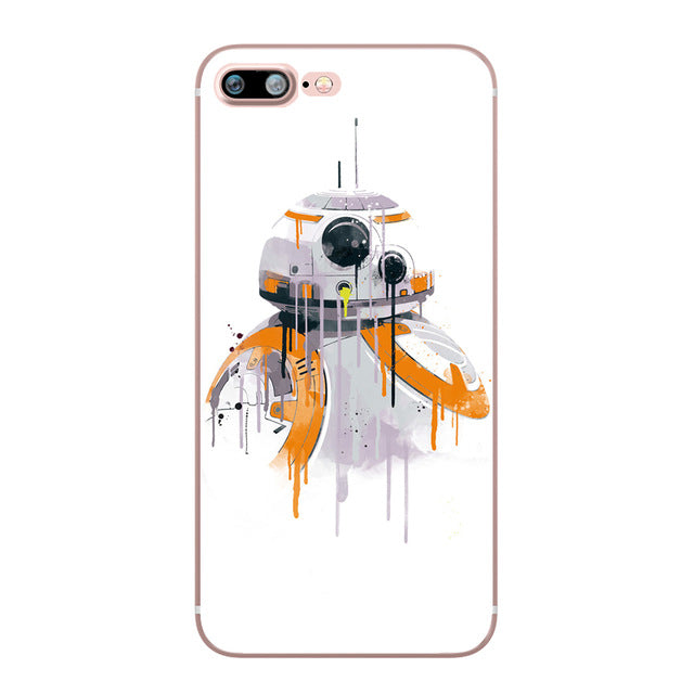 R2D2 BB8 Star Wars Darth Vader Stormtrooper Cartoon Silicone Soft Clear TPU  Case Fundas for iphone 7 8 6 6S PLUS X 5S SE 5 Cover