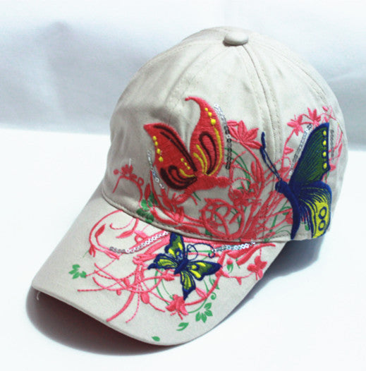 be386b60e xthree High quality baseball hat cap Butterflies and flowers embroidery  cotton caps Casual hats snapback cap fashion for women