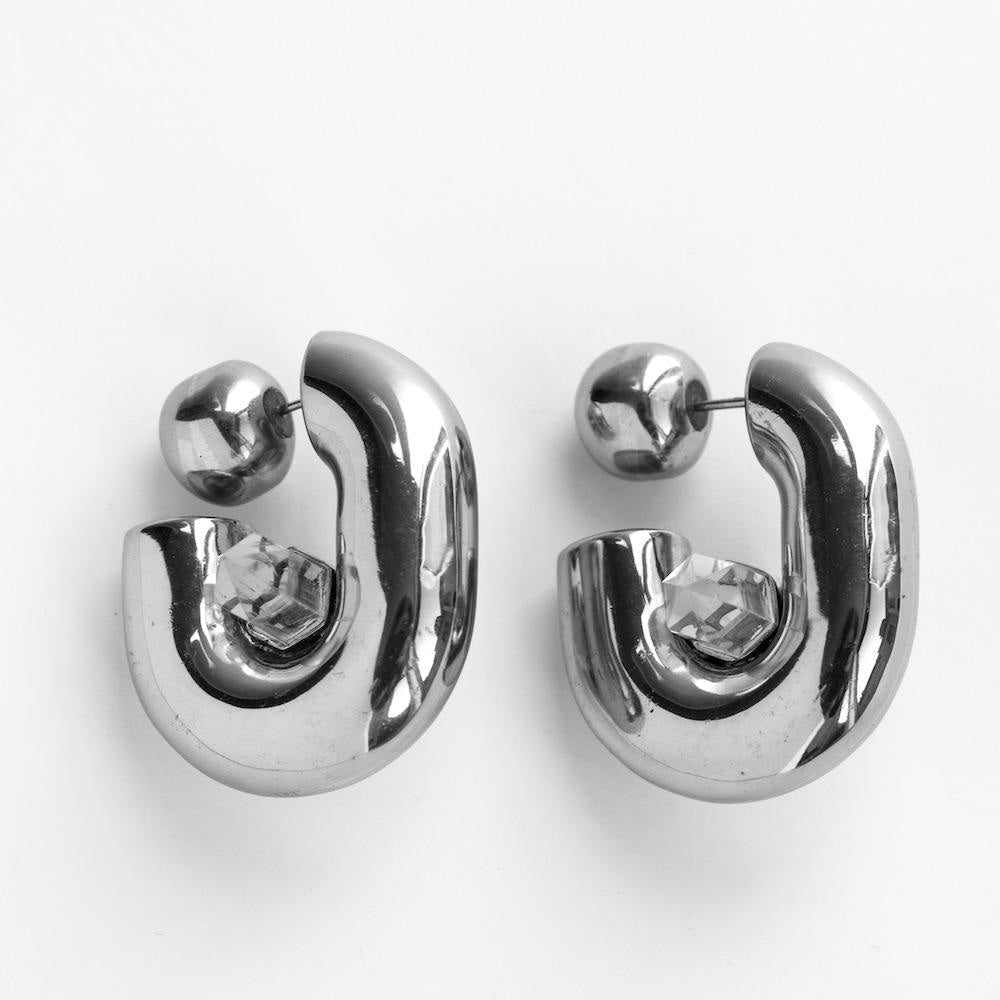 Crystalised Hoop Earring L Cornelia Webb Earring Crystalised, Earring, Silver Plated Brass, SS21, Stone
