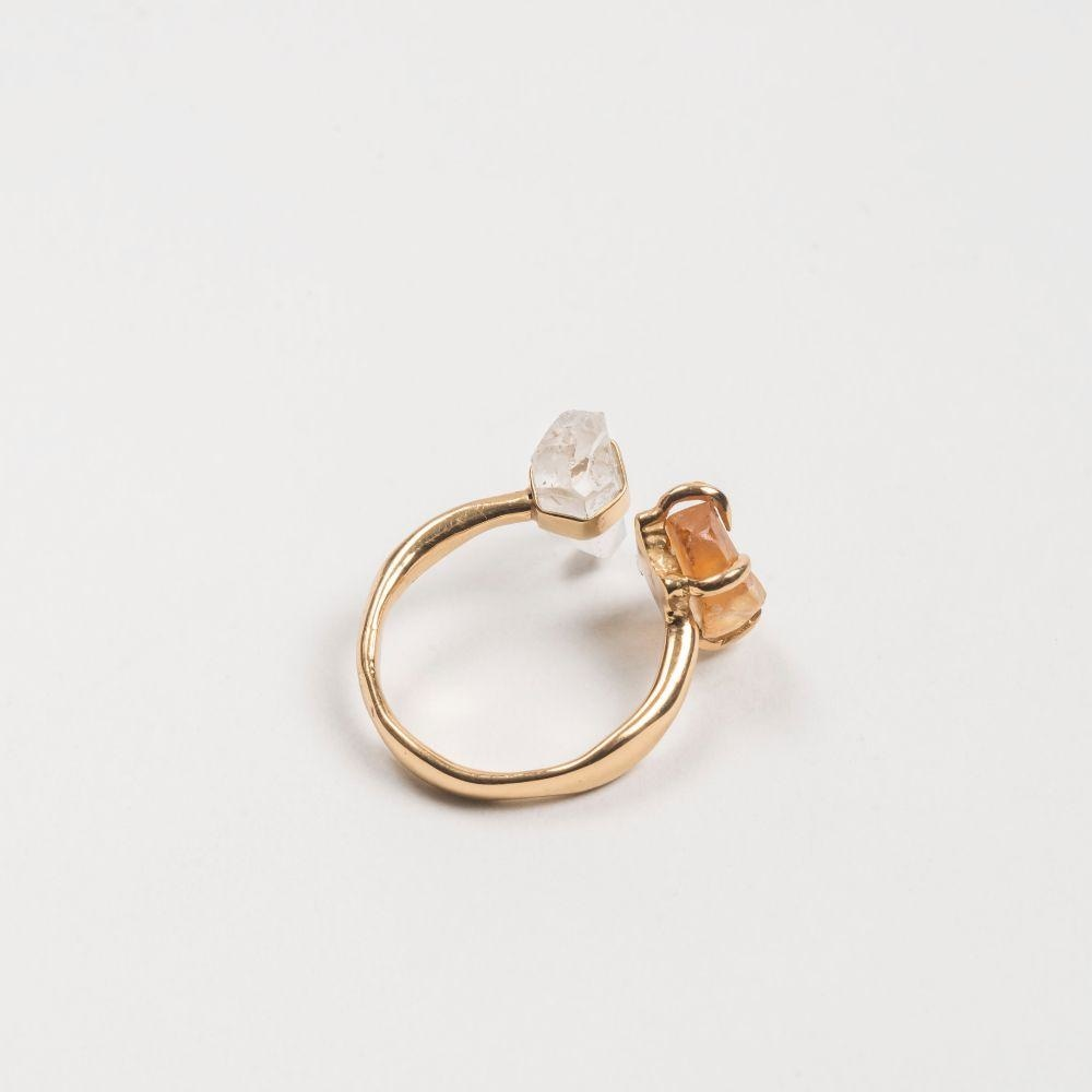 Crystalised Open Ring XS Cornelia Webb Ring Crystalised Gold Plated Brass PS20 Ring Stone