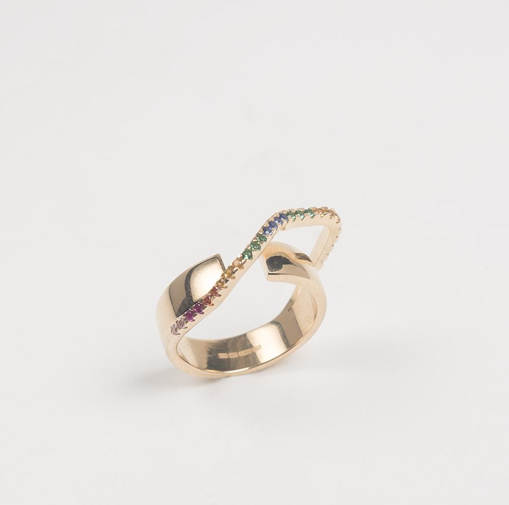 Distorted Round Double Ring M Cornelia Webb Ring Distorted,Gold Plated Sterling,PF20,Ring,Stone
