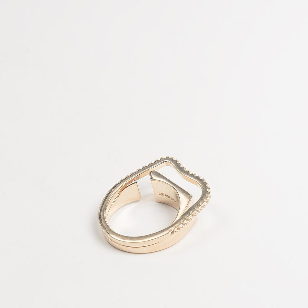 Distorted Signet Ring M Cornelia Webb Ring Distorted Gold Plated Sterling Ring sample sale Stone