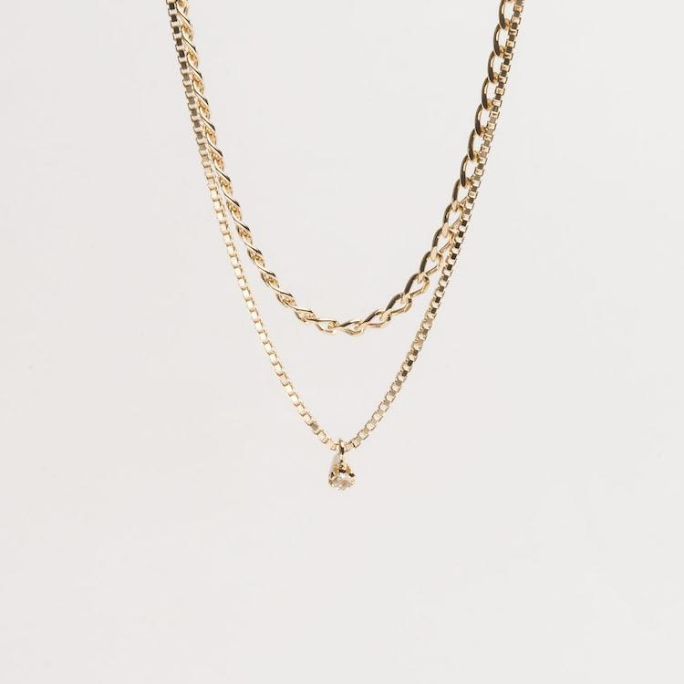 Warped Double Necklace Cornelia Webb Necklace Gold Plated Sterling Necklace PS20 Stone Warped