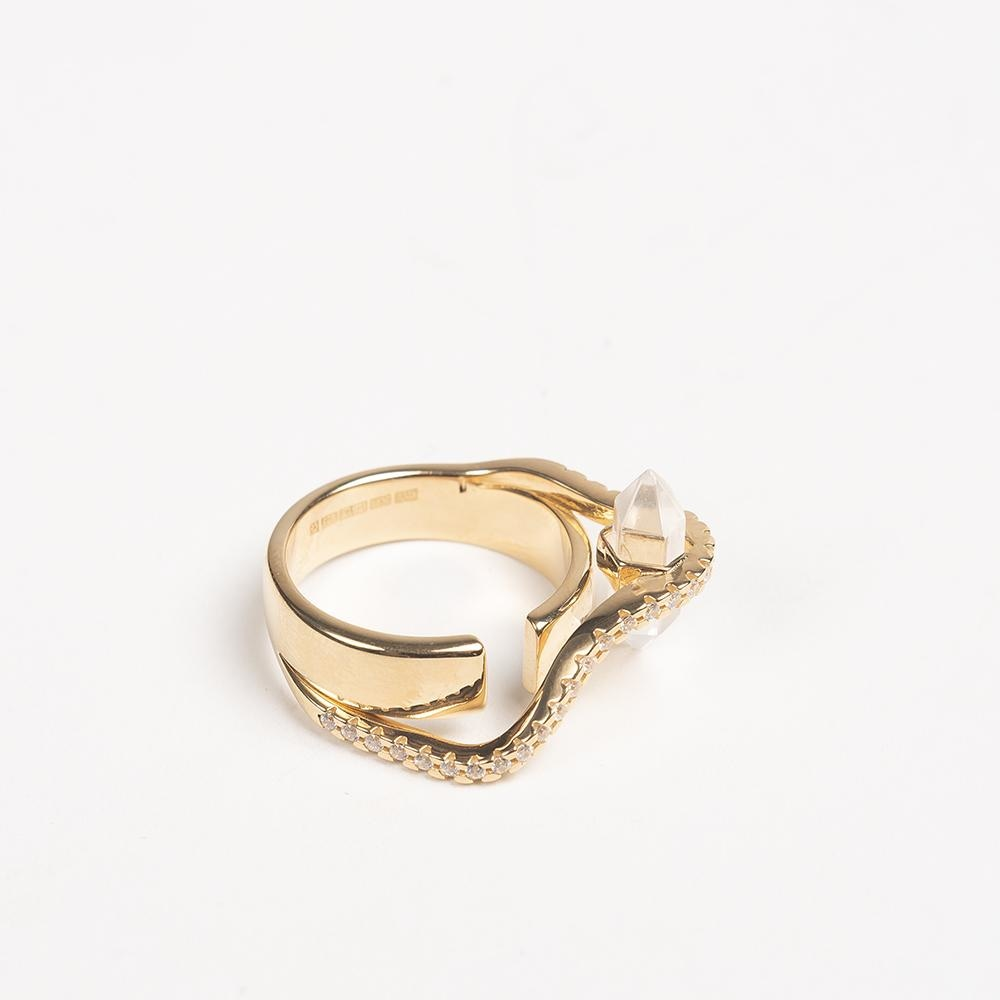 Warped Round Ring Cornelia Webb Ring Gold Plated Sterling PS20 Ring Stone Warped