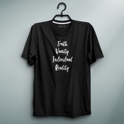 Truth Vanity Individual Reality Black Tee