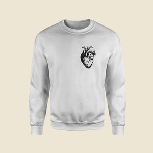 Black Heart White Sweatshirt