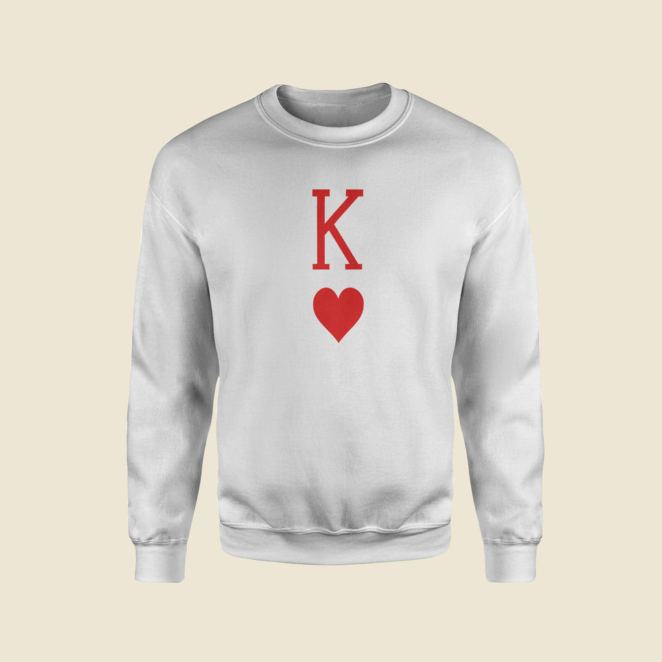 King Of Hearts White Sweatshirt Revolteepk