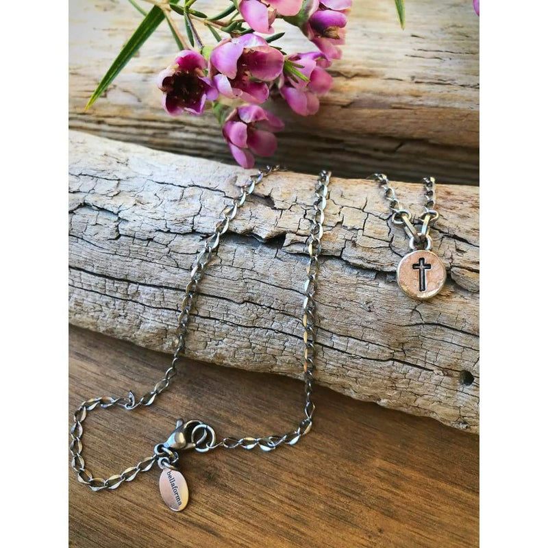 MINI CROSS CHARM NECKLACE