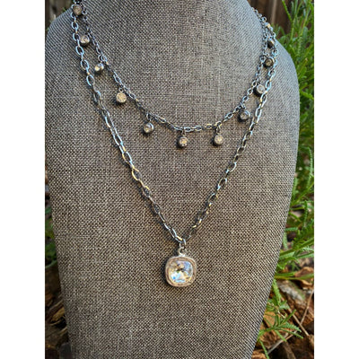 CRYSTAL SQ BEZEL NECKLACE