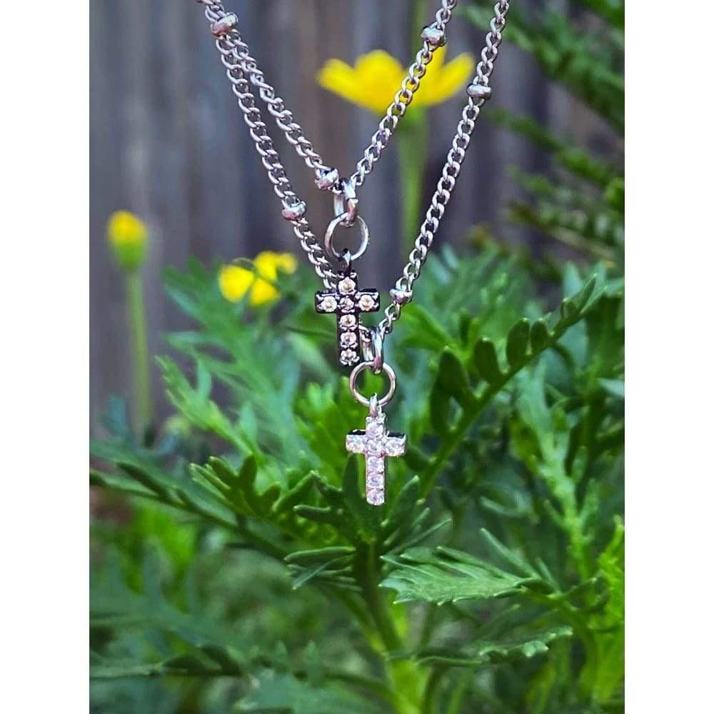 PETITE PAVÉ CROSS NECKLACE