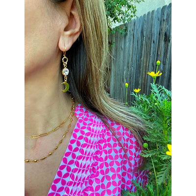 GOLD CRYSTAL MOON EARRINGS