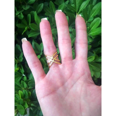 GOLD X WRAP RING