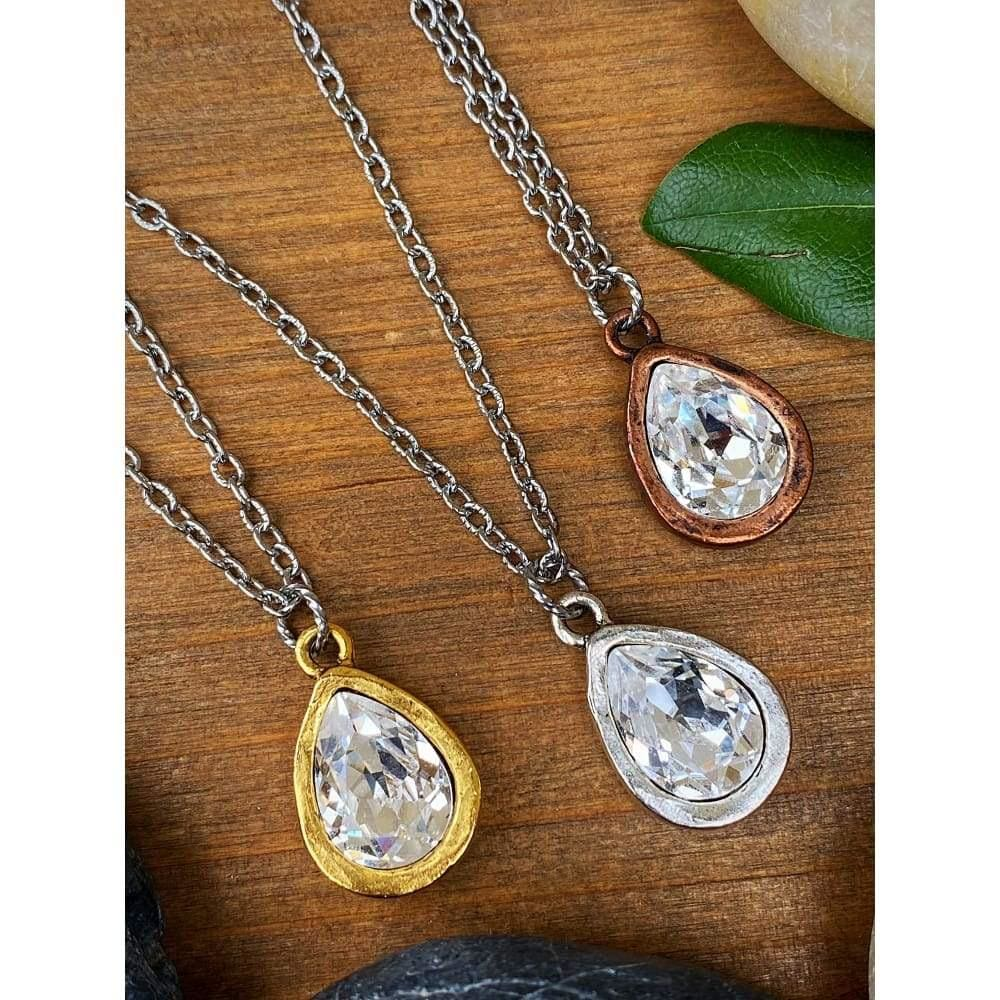 CRYSTAL PEAR BEZEL NECKLACE