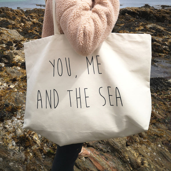 You, Me and the Sea Canvas Beach Bag