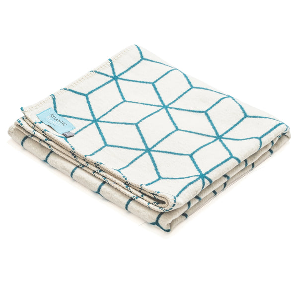 *Seconds* - Teal Geometric Recycled Cotton Blanket