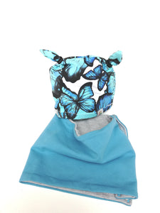 "Bonnet ""papillon bleu""+snood"