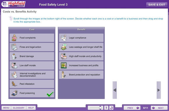 This innovative, multi-device e-learning course provides learners with the knowledge they need to go on to achieve a level 3 food safety training qualification in a fun and interactive way.