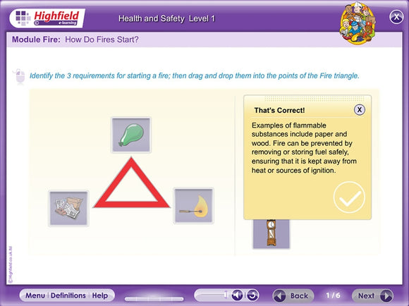 This innovative, multi-device e-learning Health & Safety Training course provides learners with the knowledge they need to go on to achieve a level 1 Health and Safety qualification in a fun and interactive way.