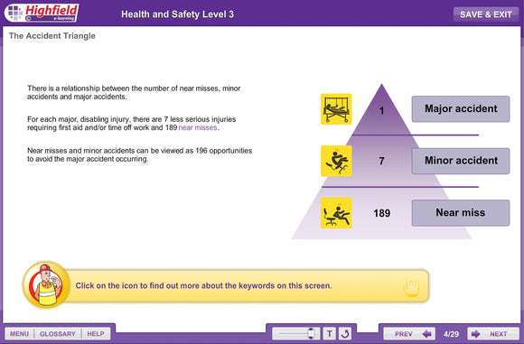 This innovative, multi-device e-learning course provides learners with the knowledge they need to go on to achieve a level 3 Health and Safety qualification in a fun and interactive way.