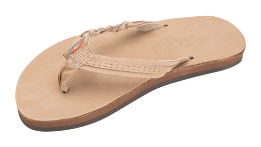 "Rainbow Sandals Kids Flirty Braidy- Premier Leather Braided 1/2"" Strap - Sierra Brown"