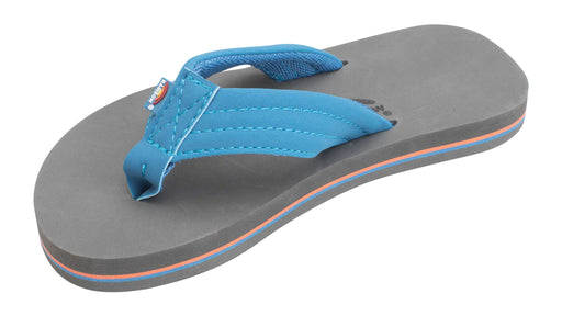 "Rainbow Sandals The Grombow - Soft Rubber Top Sole with 1"" Strap and Pin line - Blue/Orange/Grey"