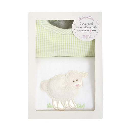 3 Marthas Lamb Basic Bib and Burp Box Set White and Green