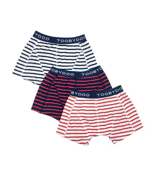 Toobydoo Striped Boxer Briefs (Red, White, and Nacy)