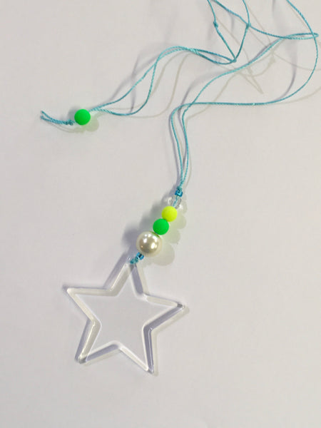 Neon Star Necklace w/ Assort. Beads