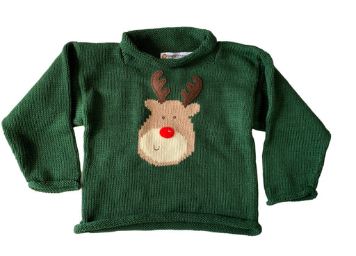 Rudolph Sweater on Hunter Green