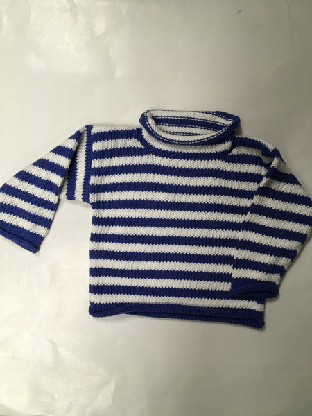 Rollneck Blue and White Striped Sweater