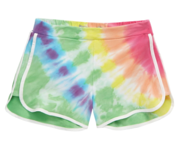 Tractr Blue Yellow Tie Dye Retro Dolphin Short