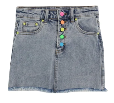 Tractr Rainbow Button Mini Skirt