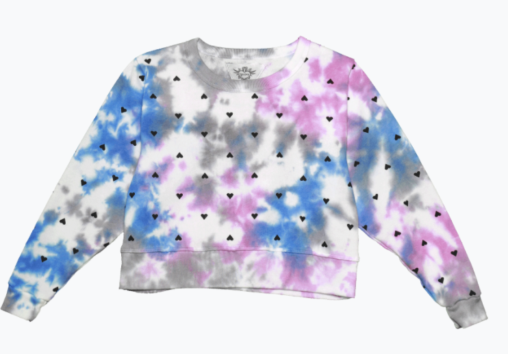 T2Love Blue/Gray/Pink Tie Dye Crewneck