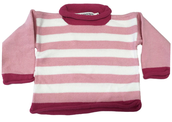 Pocket Full of Posies Pink Striped Roll-neck Sweater