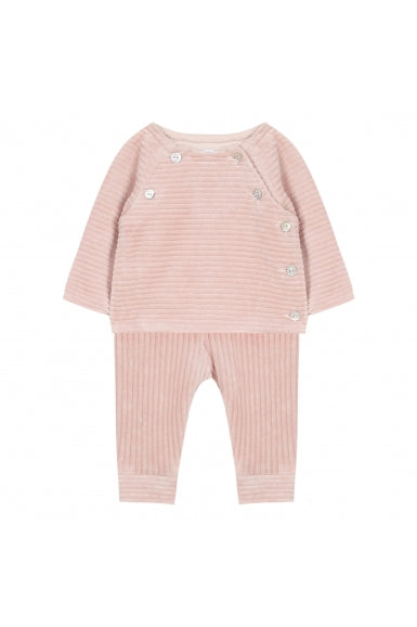Tartine Et Chocolat Mid pink long outfit in corduroy knit