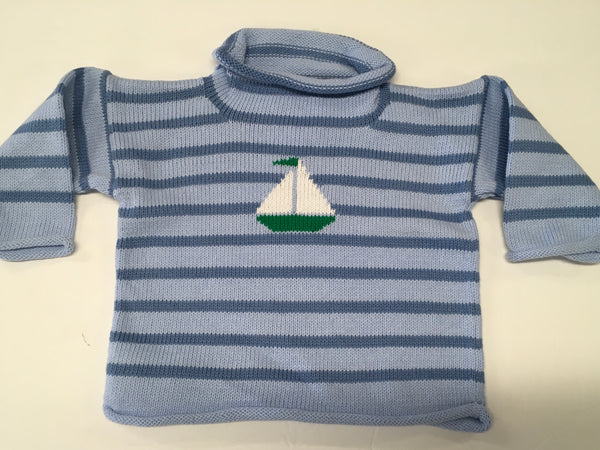 Pocket Full of Posies Sailboat Sweater-Blue