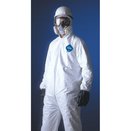 TYVEK COVERALLS w/ ELASTIC WRIST & ANKLES AND ATTACHED HOOD & BOOTS