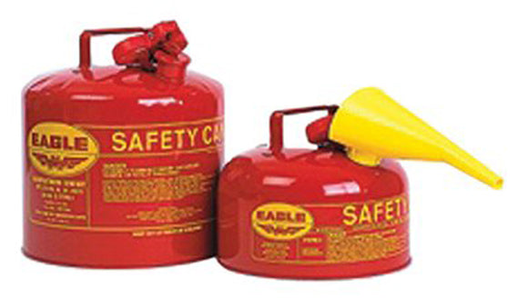 Type l Safety Cans, Gas, 2 gal, Red, Funnel