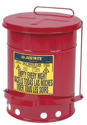 10 Gallon Red Oily Waste Cans, Foot Operated
