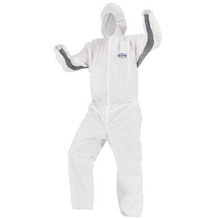 KLEENGUARD A30 BREATHABLE SPLASH & PARTICLE PROTECTION COVERALLS w/ STORM FLAP