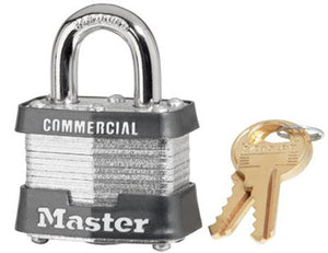 No. 3 Laminated Steel Pin Tumbler Padlock (4 Per Box)