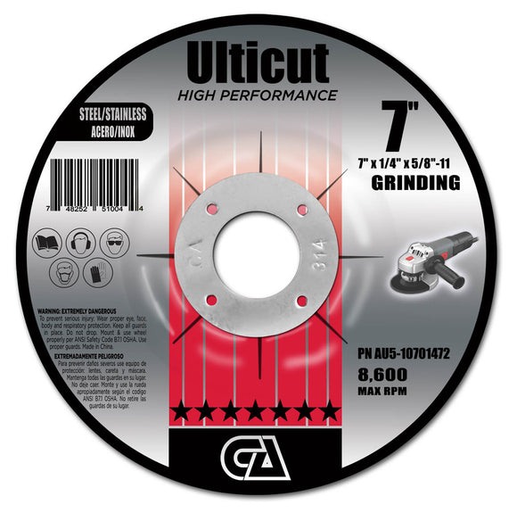 ULTICUT TYPE 27 DEPRESSED CENTER PIPE CUTTING & GRINDING WHEELS (FOR METAL) *PIPELINE